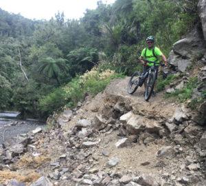 Malcolm Dawson takes a break on Motu Trails Pahiki Track.